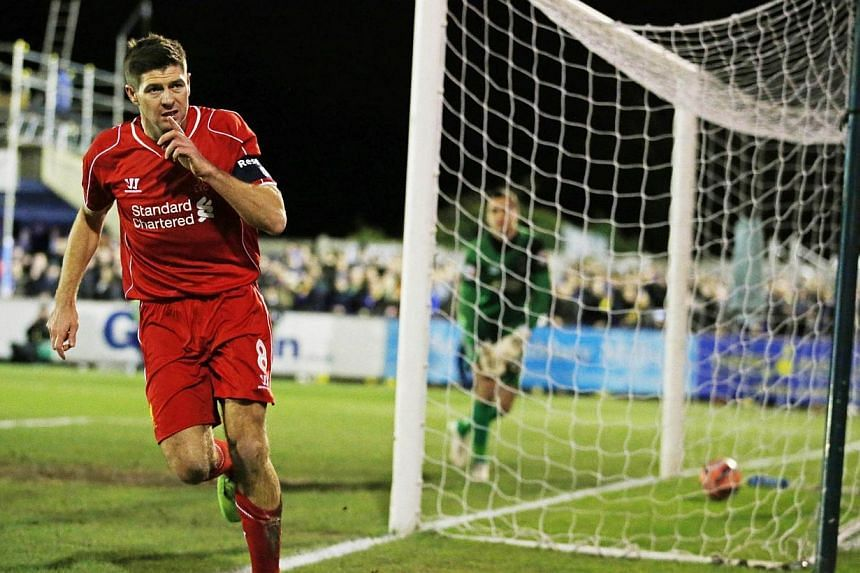 Liverpool's Steven Gerrard celebrates scoring his first goal against Wimbledon duringa FA Cup third round football match at the Cherry Red Records Fans Stadium, Kingsmeadow on Jan 5, 2015. -- PHOTO: ACTION IMAGES