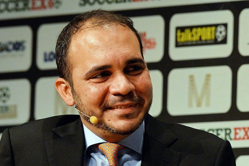 Fifa vice-president Prince Ali bin Al Hussein speaking during the Soccerex Global Convention 2014 in Manchester, north-west England, on Sept 8, 2014. Prince Ali said he would stand against incumbent Sepp Blatter for the presidency of world football's