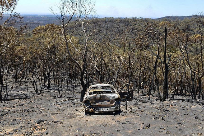 A charred car is left after a bushfire moved through the area near One Tree Hill in the Adelaide Hills on Jan 5, 2015. -- PHOTO: AFP