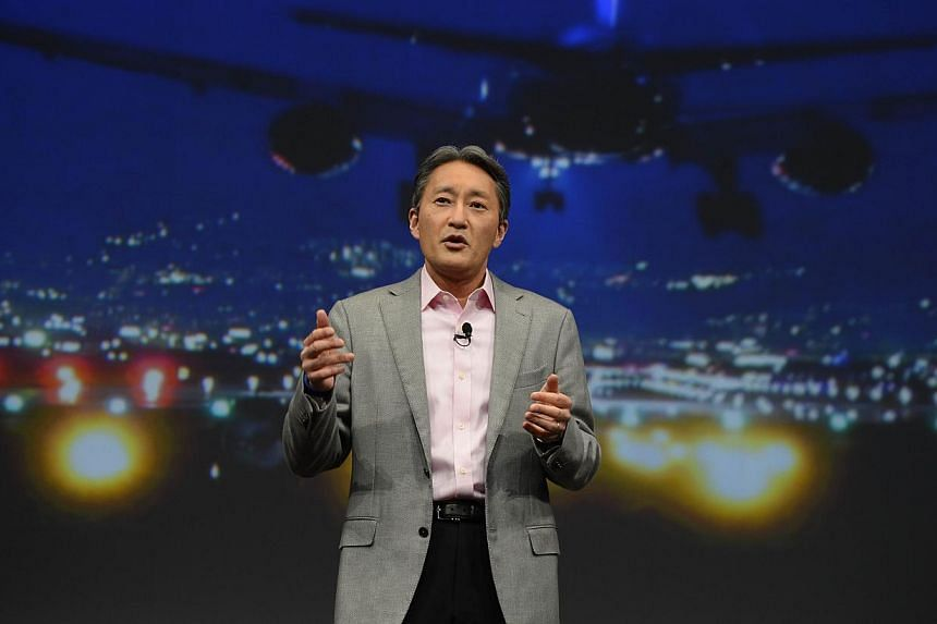 Sony CEO Kazuo Hirai speaking at the Sony press conference at the 2015 Consumer Electronics Show in Las Vegas, Nevada on Jan 5, 2015. Mr Hirai on Monday spoke for the first time publicly about the cyber attack that derailed the launch of controversia