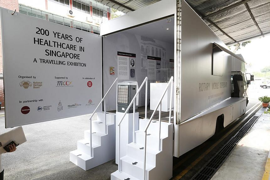 The National Heritage Board (NHB), in collaboration with the Museum Roundtable, has remodelled a truck and transformed it into a mobile dispensary which will house its travelling exhibition entitled 200 Years of Healthcare. -- ST PHOTO: LAU FOOK KONG