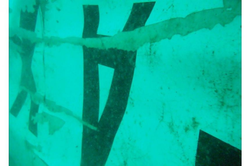 This handout image released by Indonesia's national search and rescue agency Basarnas on Jan 7, 2015, shows images of what is believed to be the wreckage of AirAsia flight QZ8501, photographed by divers working in the Java Sea. -- PHOTO: AFP/BASARNAS
