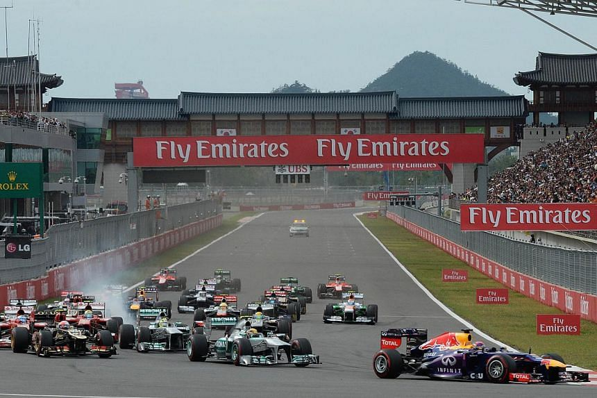 A file photo taken on Oct 6, 2013 shows the start of the Formula One Korean Grand Prix in Yeongam. The Korean Grand Prix has been formally dropped from the 2015 calendar after its surprise inclusion last month for contractual reasons. -- PHOTO: AFP&n
