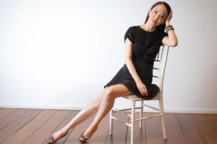 Fann Wong at a publicity event for Marie France Bodyline. -- ST PHOTO: ONG WEE JIN
