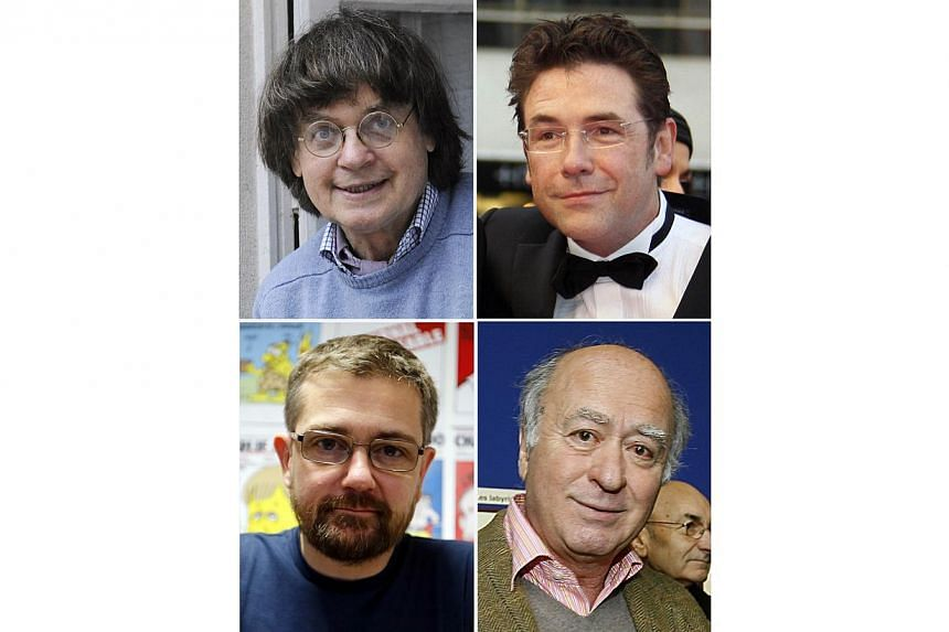 A combination photo shows French cartoonist Jean Cabut, aka Cabu (top left), French cartoonist Tignous (top right), French satirical weekly Charlie Hebdo's editor-in-chiefStephane Charbonnier, known as Charb (bottom left) and French cartoonist