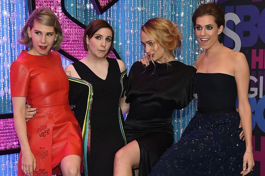 Actors (from left) Zosia Mamet, Lena Dunham, Allison Williams and Jemima Kirke attend the Girls season four series premiere at the American Museum of Natural History on Jan 5, 2015 in New York City. HBO has ordered a fifth season of the hit comedy.&n