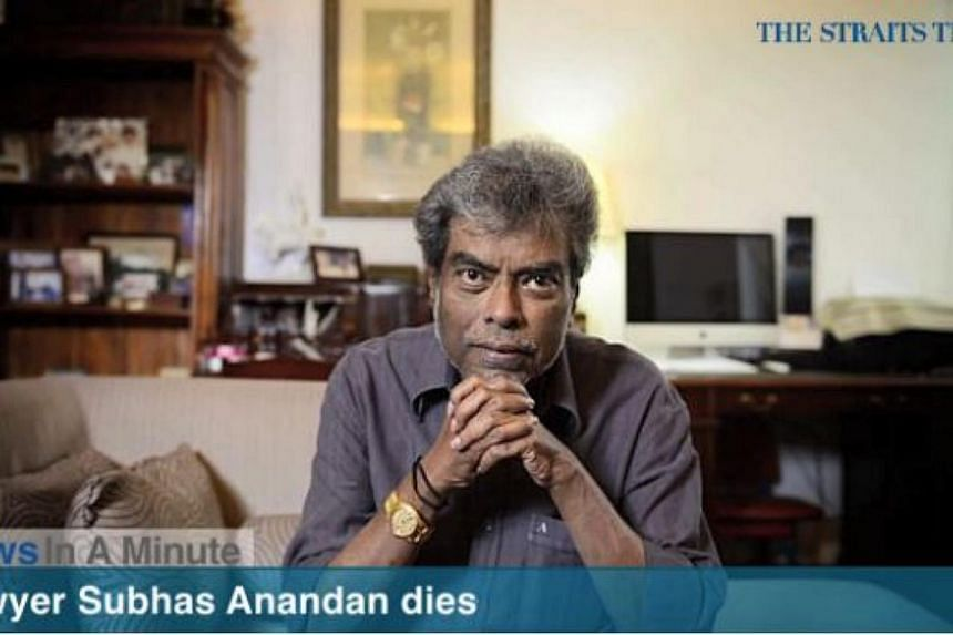 Prominent criminal lawyer Subhas Anandan died of heart failure on Wednesday morning.