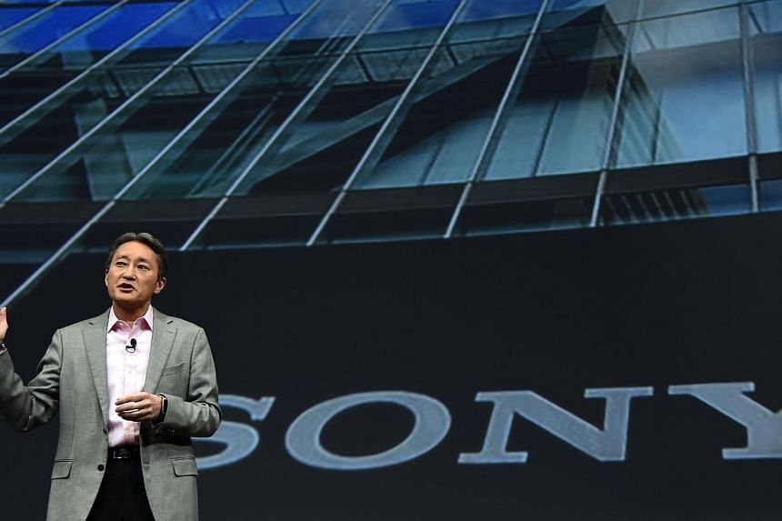 Sony President and CEO Kazuo Hirai speaking during the Sony press conference at the 2015 Consumer Electronics Show in Las Vegas, Nevada, on Monday. -- PHOTO: AFP