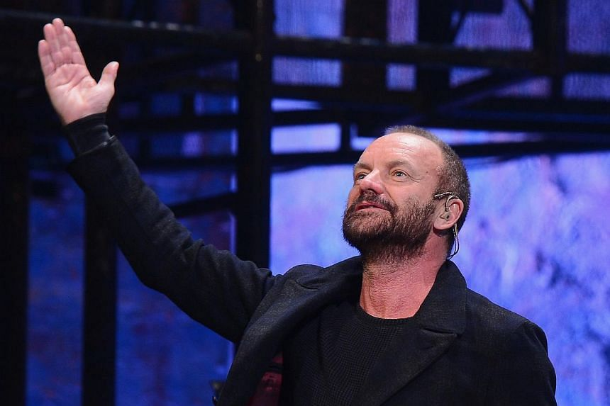 Musician/playwright Sting attends the curtain call at a performance of The Last Ship at Neil Simon Theatre in New York City last month. -- PHOTO: AFP