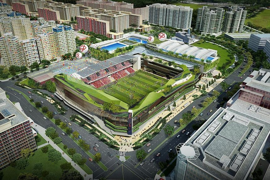 Aerial view of the Tampines Town Hub design. Construction contracts for the built environment sector are expected to reach between $29 billion to $36 billion this year, fuelled by a healthy pipeline of public sector projects such as the Sengkang Gene