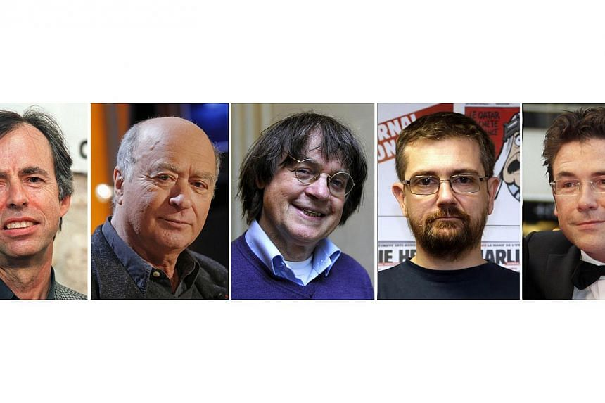 (From left) French satirical weekly Charlie Hebdo's deputy chief editor Bernard Maris and cartoonists Georges Wolinski, Jean Cabut, aka Cabu, Charb and Tignous. Gunmen who attacked the offices of Charlie Hebdo magazine in Paris had reportedly asked f
