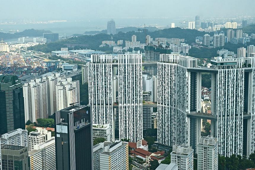 Aerial view of The Pinnacle@Duxton. A second unit of the iconic Housing Board project at Tanjong Pagar has been sold on the resale market. -- ST PHOTO: JAMIE KOH