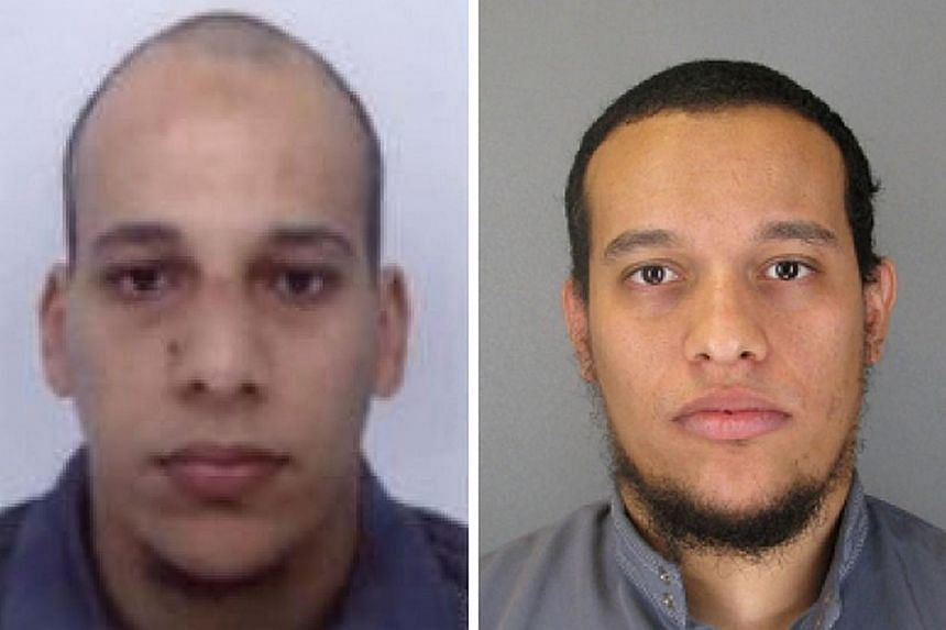 This combo shows handout photos released by French Police in Paris early on Jan 8, 2015, of suspects Cherif Kouachi (left), aged 32, and his brother Said Kouachi (right), aged 34, wanted in connection with an attack at the satirical weekly Charlie He