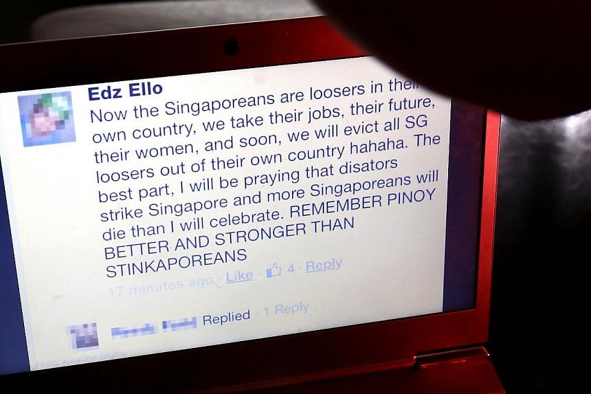 An anti-Singaporean Facebook post, purportedly made by Filipino Ed Mundsel Bello Ello, went viral over the weekend. Mr Ello, who is a nurse at Tan Tock Seng Hospital has since been dismissed. -- PHOTO: THE NEW PAPER