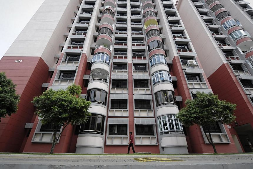 Resale prices in non-mature estates fell 0.9 per cent last month but they rose 0.2 per cent in mature estates, according to SRX Property. -- ST FILE PHOTO