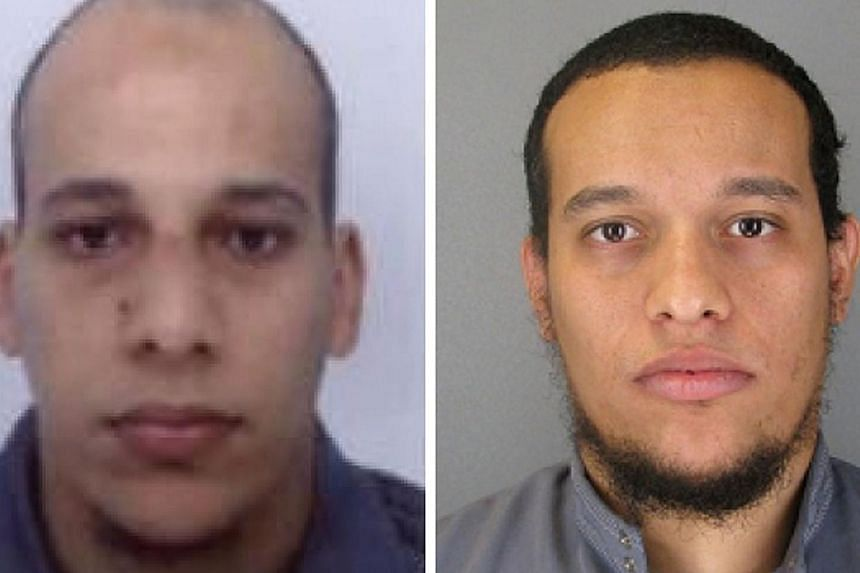Suspects Cherif Kouachi (left), aged 32, and his brother Said Kouachi (right), 34, wanted in connection with an attack at the satirical weekly Charlie Hebdo in Paris that killed at least 12 people. -- PHOTO: AFP PHOTO/FRENCH POLICE