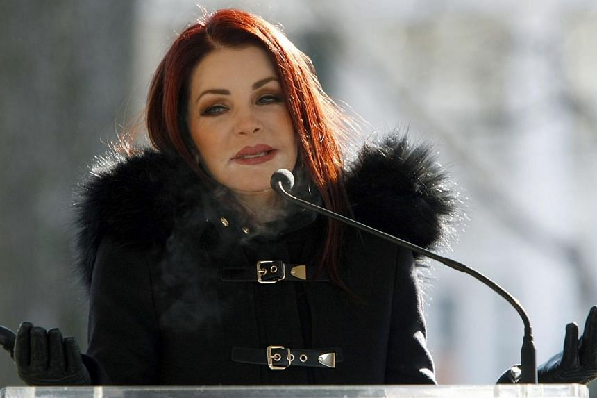 Priscilla Ann Presley, the ex-wife of the late singer Elvis Presley, speaks to fans during a proclamation of Elvis Presley Day by Memphis and Shelby County officials at Graceland in Memphis, Tennessee, on Jan 8, 2015. -- PHOTO: REUTERS