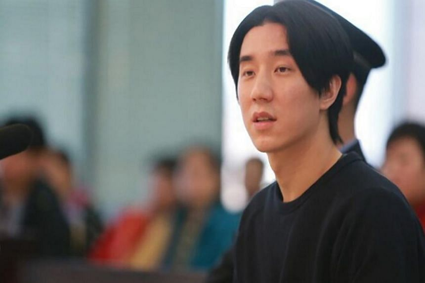 In his first public appearance after his arrest, Jaycee Chan admitted to making his home in Beijing available to drug users, Taiwanese actor Kai Ko and Chinese entertainer Alice Li, four times. -- PHOTO:BEIJING COURT/ WEIBO