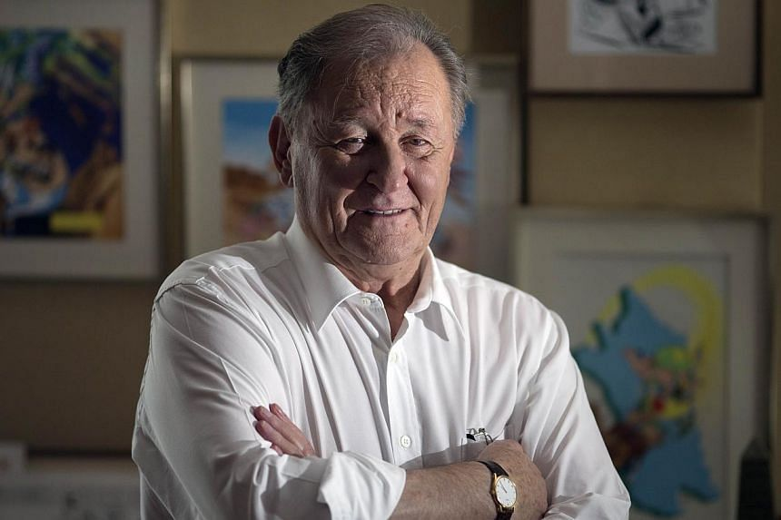 An Oct 2, 2012 photo of French author and illustrator Albert Uderzo in his office in Neuilly-sur-Seine, outside Paris. The co-creator of legendary comic strip character Asterix came out of retirement to pen cartoons in memory of the victims of the ki