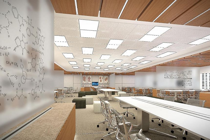 Learning spaces called alcove clusters at the Clinical Sciences Building in Novena will feature high-tech glass panels that can be turned into whiteboards for teaching.