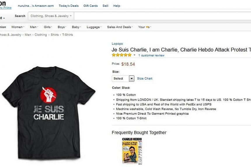 """Products with the """"Je Suis Charlie"""" logo, from t-shirts to kitchen aprons, are being sold widely online, presenting a moral quandary for ecommerce stores after this week's deadly attacks in Paris. -- PHOTO: AMAZON SCREENGRAB"""