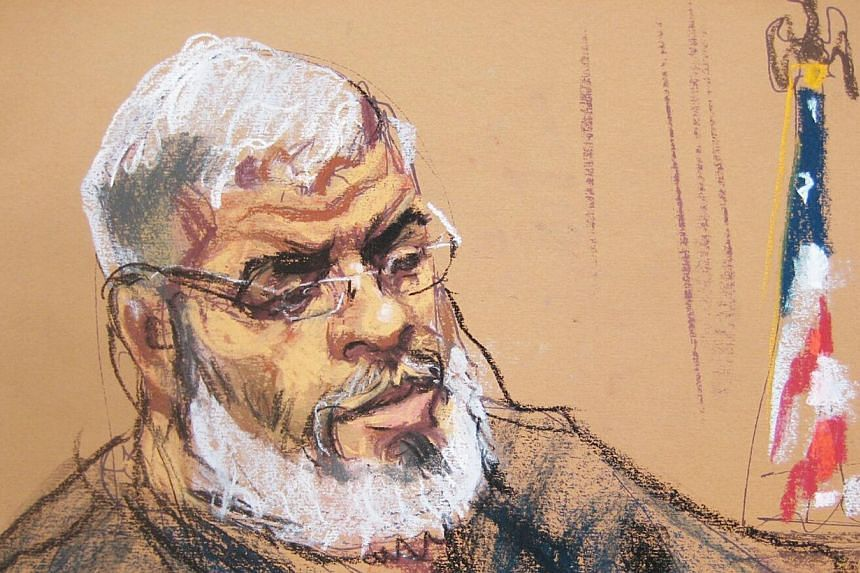 A courtroom sketch shows Abu Hamza, 56, appearing in US District court in Manhattan, New York, Jan 9, 2015. Radical imam Abu Hamza al-Masri was sentenced to life in prison on Friday, eight months after he was convicted of federal terrorism charges in