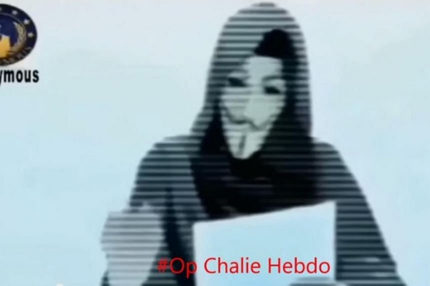 "The group of ""hacktivists"" - activist computer hackers - that calls itself Anonymous posted a video in which a masked member, speaking in French, declares ""war on you, the terrorists"" for the attack in which 12 people were murdered, singling out the"