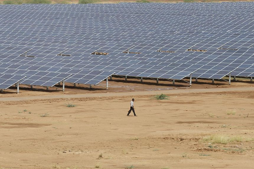 A solar power park in Charanka village in India's western state of Gujarat. -- PHOTO: ST FILE