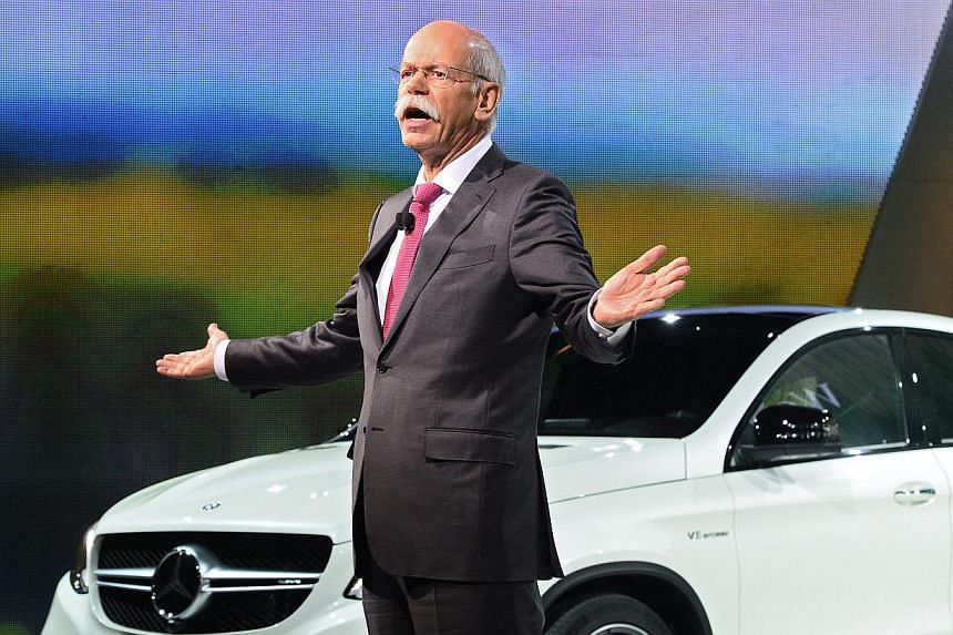 German businessman Dieter Zetsche, Chairman of the Board of Mercedes Benz, introduces the new Mercedes Benz GLE Coupe at the Mercedes Benz special event the day before the North American International Auto Show. -- PHOTO: EPA
