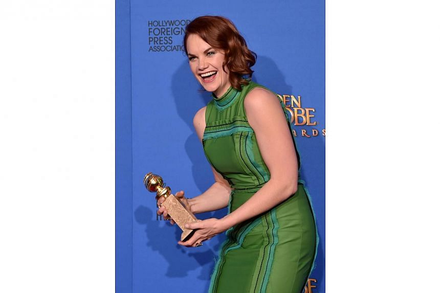 Ruth Wilson, winner of best actress for her role in TV series The Affair posing in the press room during the 72nd Annual Golden Globe Awards. -- PHOTO: AFP