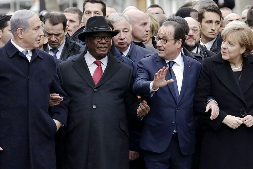 "(From left) Israeli Prime Minister Benjamin Netanyahu, Malian President Ibrahim Boubacar Keita, French President Francois Hollande and German Chancellor Angela Merkel take part in a Unity rally ""Marche Republicaine"" in Paris on Jan 11, 2015.&nbsp"