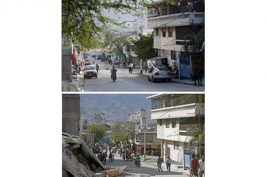 These images show a street in Port-au-Prince on Dec 29, 2014, (top) and the same street on Jan 14, 2010, two days after the earthquake (bottom). -- PHOTO: AFP