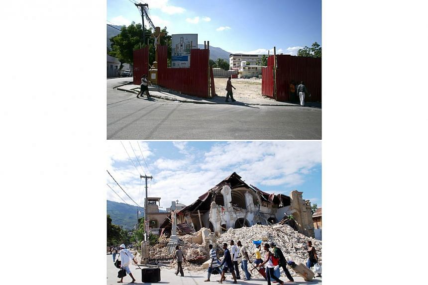 These images show the site of the Sacre Coeur Church in Port-au-Prince, on Dec 29, 2014, (top) and the church on Jan 14, 2010, two days after it was destroyed by the earthquake (bottom). -- PHOTO: AFP