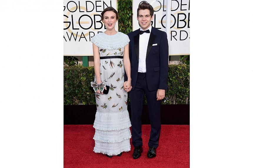 Actress Keira Knightley with musician James Righton at the 72nd Annual Golden Globe Awards on Jan 11, 2015. -- PHOTO: AFP