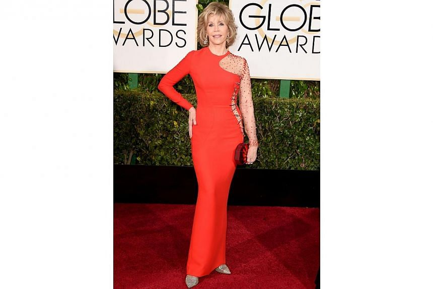 Actress Jane Fonda at the 72nd Annual Golden Globe Awards on Jan 11, 2015, in Beverly Hills, California. -- PHOTO: AFP