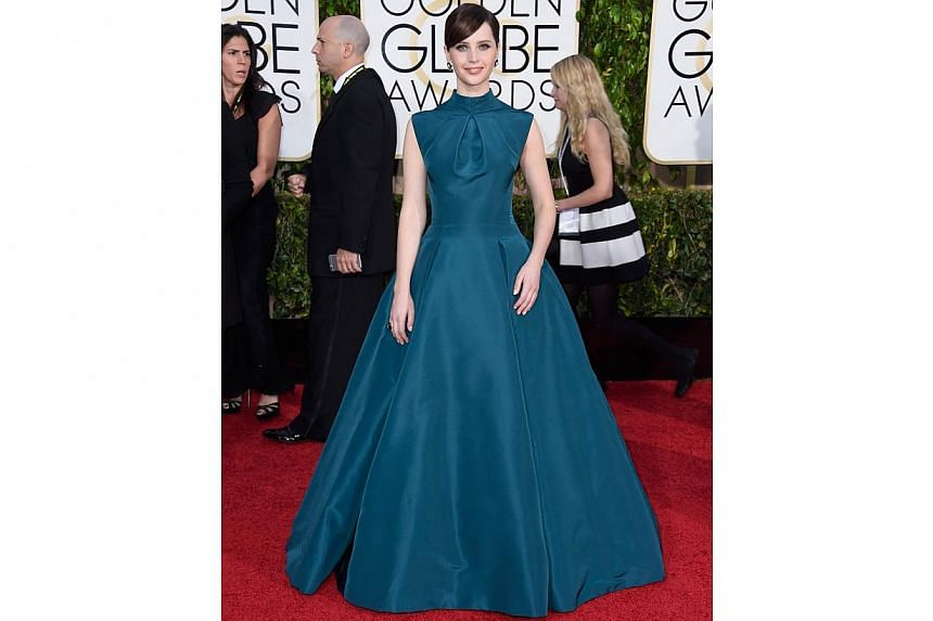 The Theory Of Everything actress Felicity Jones attending the 72nd Annual Golden Globe Awards at the Beverly Hilton Hotel on Jan 11, 2015, in Beverly Hills, California. -- PHOTO: AFP