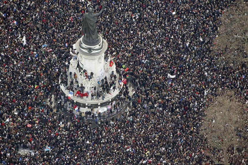 """The """"Marche Republicaine"""" at the Place de la Republique (Republique's square) in Paris. -- PHOTO: AFP"""