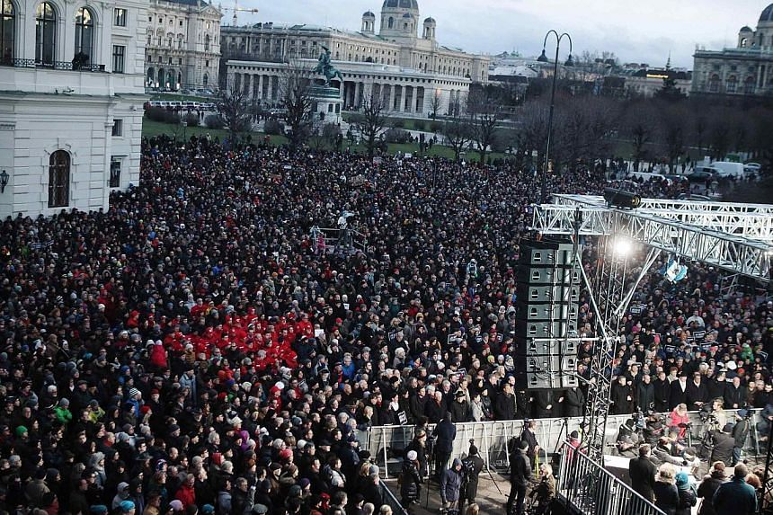 A solidarity demonstration in front of the presidential office in Vienna on Sunday. Some 10,000 people attended the demonstration in tribute to this week's victims following the shootings by gunmen reportedly connected to Middle East terrorist groups