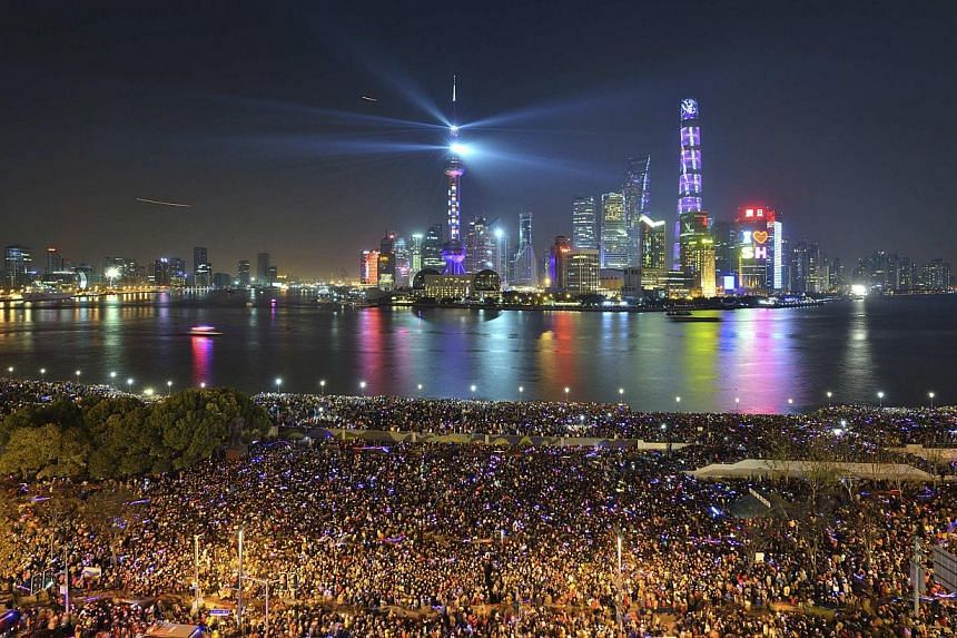 A light show before the stampede occurred at the New Year's celebration on the Bund on Dec 31, 2014. -- PHOTO: REUTERS