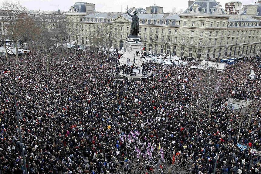 Thousands gathered at Paris' Place de la Republique on Sunday for a march in honour of the shooting victims. Singapore too has to come to terms with a potential clash between secular values and religious or other sensitivities.