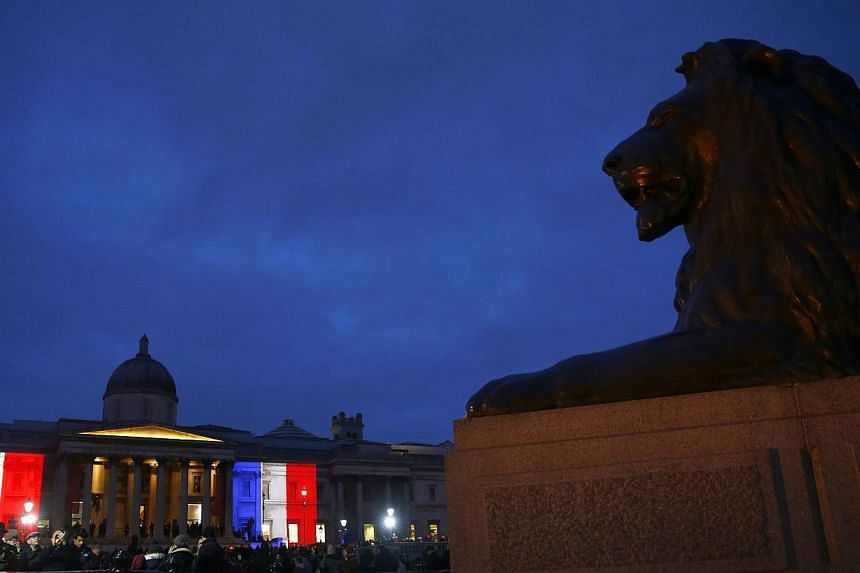 The colours of the French national flag are seen in Trafalgar Square as they are projected in tribute to the victims of the Paris terror attacks on the The National Gallery in London on Jan 11, 2015. Clearly, some journalists do believe that in such