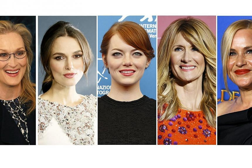 Nominees for the Academy Awards best supporting actress category:(Left to right) Meryl Streep, Keira Knightley, Emma Stone, Laura Dern and Patricia Arquette. -- PHOTO: REUTERS