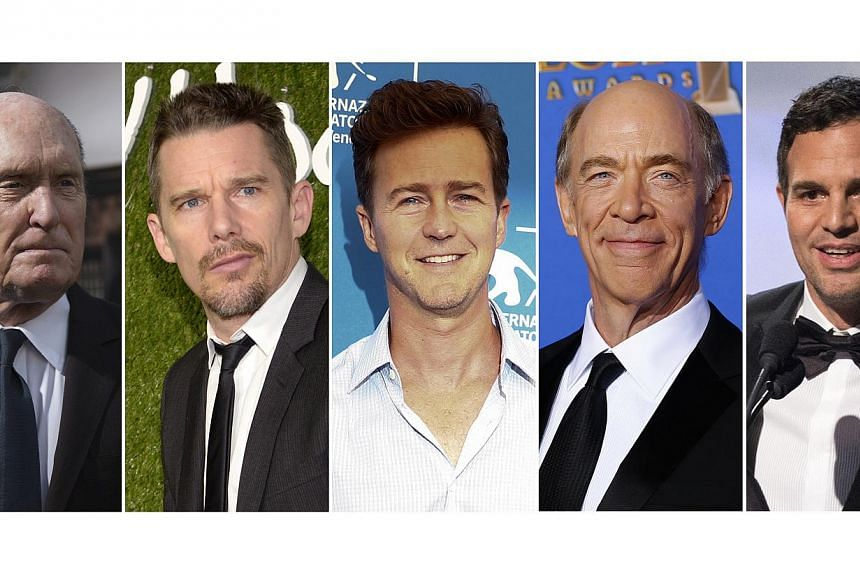 Nominees for the Academy Awards best supporting actor category: (Left to right) Robert Duvall, Ethan Hawke, Edward Norton, J.K. Simmons and Mark Ruffalo. -- PHOTO: REUTERS