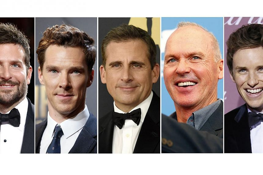 Nominees for the Academy Awards best actor category:(Left to right) Bradley Cooper, Benedict Cumberbatch, Steve Carell, Michael Keaton and Eddie Redmayne.. -- PHOTO: REUTERS