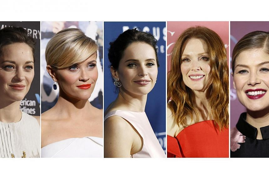 Nominees for the Academy Awards best actress category: (Left to right) Marion Cotillard, Reese Witherspoon, Felicity Jones, Julianne Moore and Rosamund Pike. -- PHOTO: AFP