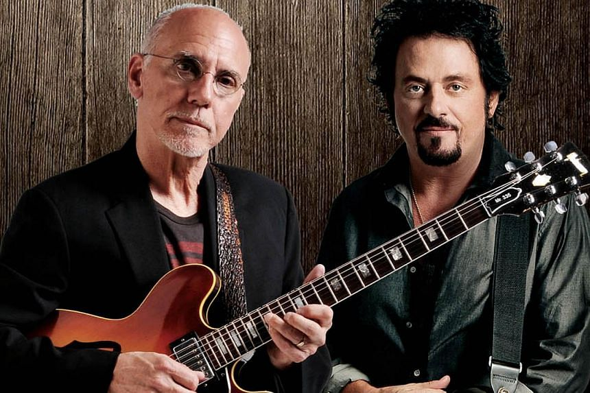 Guitar titans Larry Carlton and Steve Lukather have joined forces for a gig here. -- PHOTO: LAMC