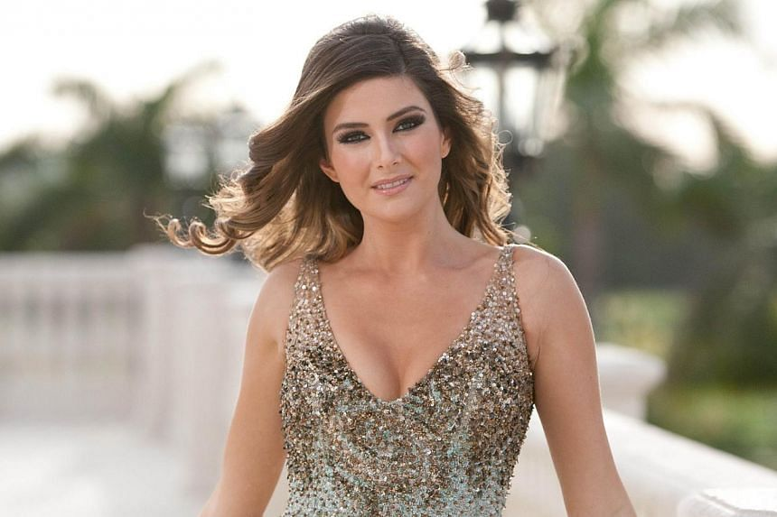 This picture provided by the Miss Universe Organization shows Miss Saly Greige, Miss Lebanon 2014, at the Trump National Doral Miami on Jan 8, 2015 in Florida.Ms Greige has come under fire from her countrymen after Miss Israel Doron Matalon too
