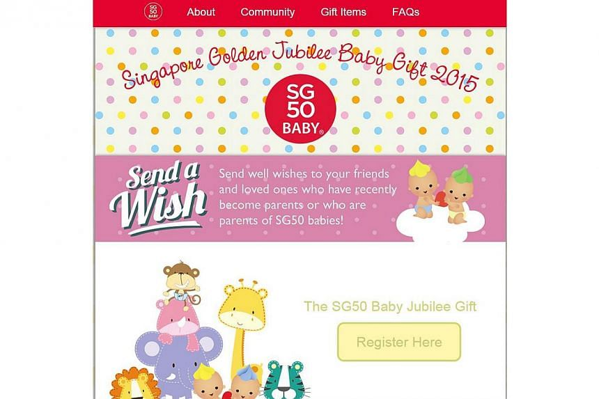Family and friends will be able to send well wishes and discount vouchers to their friends who are parents of SG50 babies through a just-launched SG50 baby website. -- PHOTO:SCREENGRAB OF WEBSITE
