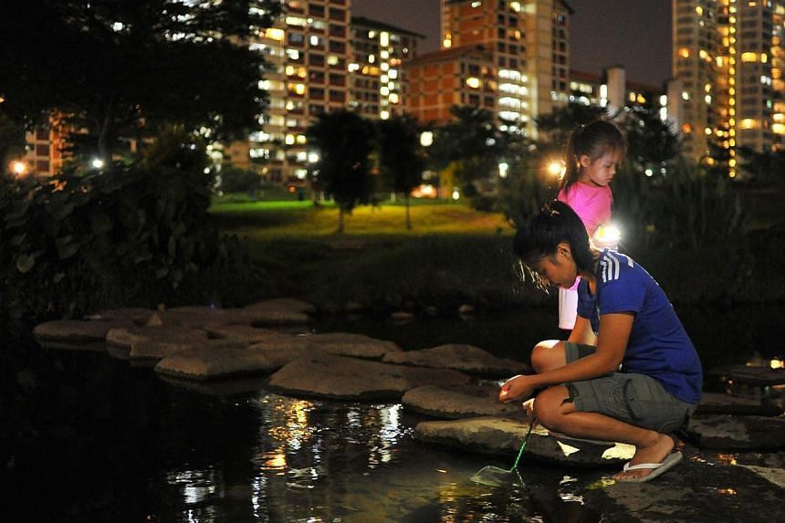 It is 8pm and Ms Kirstine Gonzales, 18, and her half-sister, Thea Jeskanen, five, are catching fish at Bishan-Ang Mo Kio Park. --PHOTO: LIM YAOHUI FOR THE STRAITS TIMES
