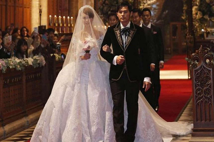 Jay Chou and Hannah Quinlivan walking down the aisle in Selby Abbey,Yorkshire.-- PHOTO: FACEBOOK / JAY CHOU